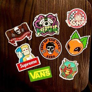 8 skateboarding stickers Vans, Blind, Zero& more